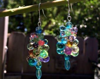 Czech Glass Bubble Earrings, Cluster Earrings