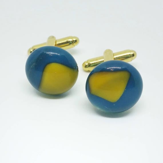 Yellow and Blue Glass Cufflinks