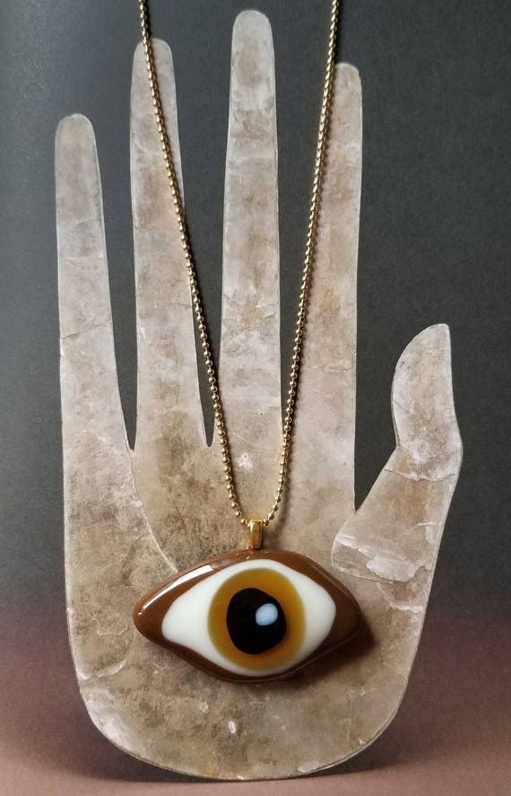 Glass Eye Necklace on Brown on Gold
