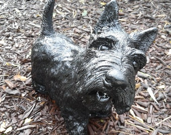 Concrete Large Scottish Terrier Dog Statue...............Black...............    (Shipping is for East of the Mississippi River)
