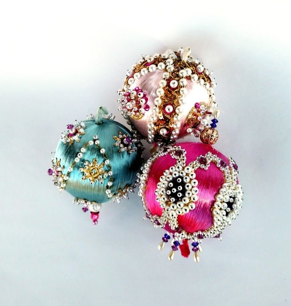 Vintage 1960's Retro Style Pin and Bead Ornaments in Pink, Blue, and Fushia Set of 3
