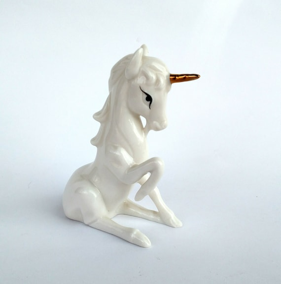 Vintage Enesco Unicorn in White with Gold Horn