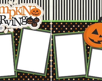 Pumpkin Carving  - Digital Scrapbook Quick Pages - INSTANT DOWNLOAD