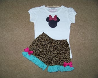 Minnie Mouse Outfit / Ruffle Shorts + Shirt / Cheetah & Aqua / Pink / Disney / Birthday / Newborn / Infant / Baby / Girl/ Toddler/ Boutique