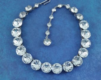 EXQUISITE Vintage MASSIVE Austrian Crystal Headlight Rhinestone Collar Necklace