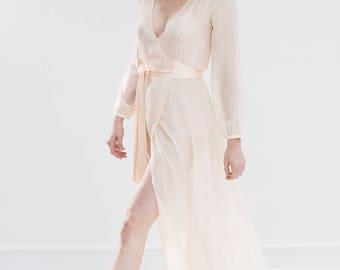 Nina Silk Chiffon Wrap Robe in Ivory or Blush - style R130