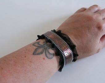 Copper Cuff Bracelet Metal Lace Zipper Rock and Roll - made with copper, zippers and lace