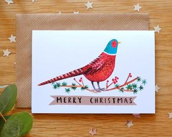 Illustrated Pheasant Christmas card