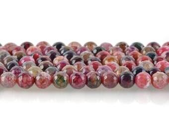 8mm Round AGATE Gemstone Beads, BLUEBERRY PINK, full strand, gag0163