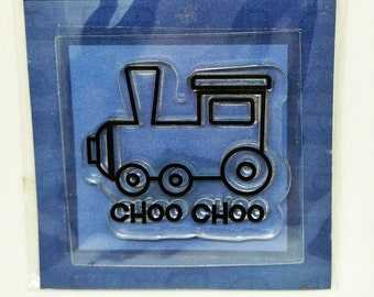 3 pcs Clear Stamps Cute Train Choo Choo Stamp, Journaling Frame, Lipstick and Mirror Stamp