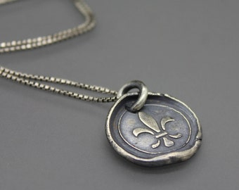 Wax Seal Necklace, Wax Seal Jewelry, New Orleans Jewelry, Fleur De Lis, Fleur De Lis Necklace, Fleur De Lis Jewelry, Saints Jewelry