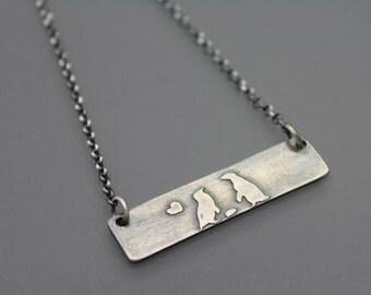 Custom Penguin Necklace, Penguin Jewelry, Couple Necklace, Love Necklace, Couple Jewelry, Love Necklace, Love Jewelry, Pebbles