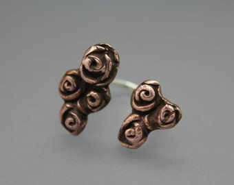 Flower Ring, Flower Jewelry, Copper Flower, Two Finger Ring, Copper Flower Ring, Rose Jewelry, Rose Ring, Copper Rose, Floral Ring
