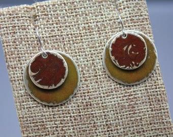 Fused Glass Jewelry, Enamel Jewelry, Enamel Earrings, Circle Earring, Glass Jewelry, Glass Earrings, Enameled Earrings, Enameled, Disc