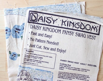 Daisy Kingdom Pansy Swag Vest - Do It Yourself Panel . Light Blue . Adult Size Small . Cloth Thin Beige .