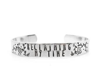 reclaiming my time, maxine waters, bracelet, feminist feminism, resistance, cuff, gift for friend, inspirational, hand stamped jewelry