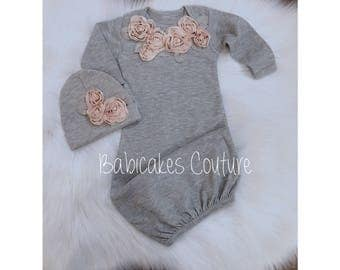 Newborn Girl Take Home Outfit, Winter Baby Outfit, Blush and Gray Baby Outfit, Coming Home Outfit, Newborn Girl Layette, Fancy Baby Outfit