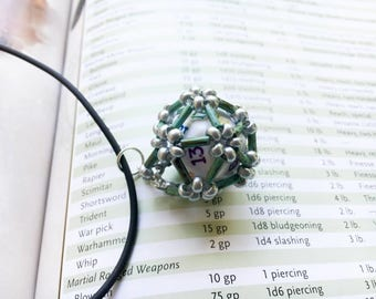 Silver, Turquoise,  Dice cage, dice jewelry, d20, dice necklace, dungeons and dragons, rpg, tabletop gaming, gamer, nerd, geek, gamers