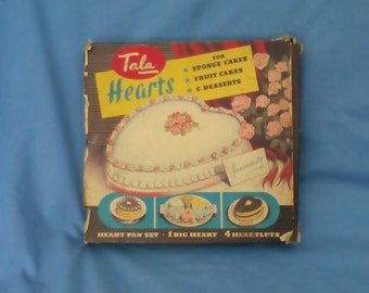 Vintage Tala Hearts Baking Tins Set in Original Priced Box - 1 large Heart & 4 Heartlets - for Cakes and Desserts -No 1629