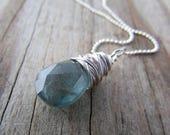 Aquamarine Pendant, wire wrapped, silver, dark aquamarine necklace