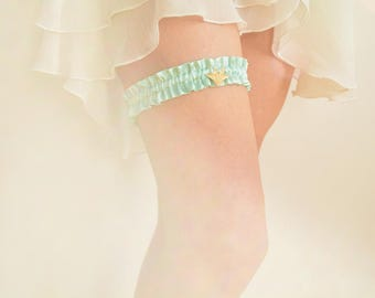 Mint silk bridal garter gold origami crane