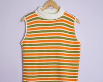 Vintage 1960's Orange + Green Stripe Sleeveless Turtleneck Sweater M