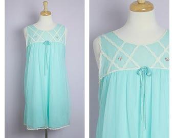 Vintage 1960's/1970's Aqua Blue Babydoll Nightie M