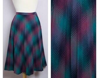 Vintage 1980's Teal + Purple Plaid Pleated Wool Midi Skirt M