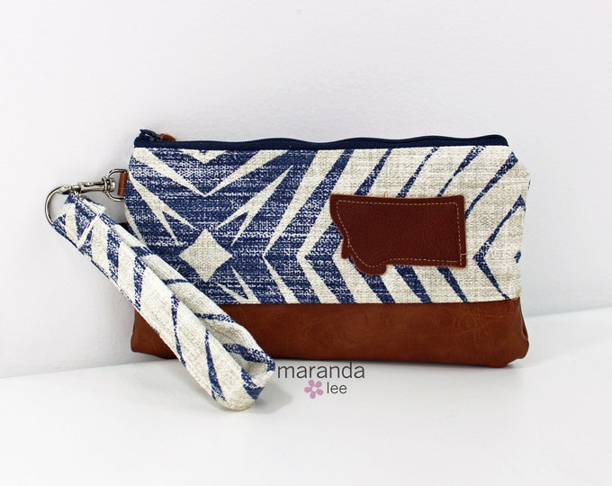 Flat Clutch - Capri Blue with Montana Patch and PU Leather READY to SHIp