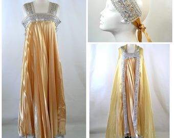 1960s/1970s Gold and Silver Three Piece Dress, Cape and Head Wrap Set, Egyptian Revival, Cleopatra, Grecian