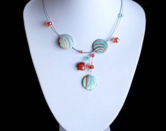 Illusion Necklace , Mother Of Pearl Shell Necklace, Gift For Her, Round Shell Necklace