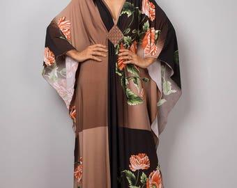 Kaftan Dress, Maxi Dress, Long boho dress, Black dress, Summer dress, Loose fit dress, kaftan, floral dress : Funky Elegant Collection No.1p