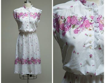 Vintage 1970s Dress • My Type • Purple Floral Border Print 70s Day Dress Size Small