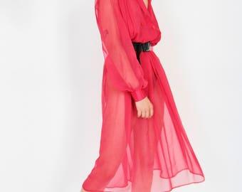 80s Pink Chiffon Summer Dress