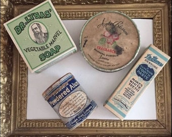 Vintage Epherema Bath Product Packaging 2 Tins and 2 Boxes United, Dr. Lynas, Dr. Blumer