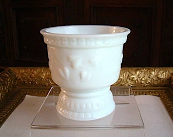 Vintage Milk Glass Pedestal Bowl or Cup Embossed Heart and Vine Motif