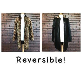 Vintage 90s Reversible leather black faux fur leopard print jacket