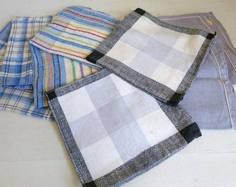 Vintage Blue Napkins, Check Napkins - Linen Mix, Blue and Grey Set x 8