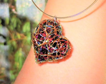 Heart art necklace, wire heart necklace, sculptural jewelry, rainbow, gold heart necklace, modern art jewelry, valentine's gift for women