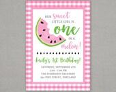Watermelon First Birthday Invitation - One - Melon