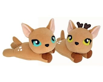 Fawn plushie , baby deer kawaii plush toys  handmade plusheez stag woodland animal creature adorable fluffy soft toy