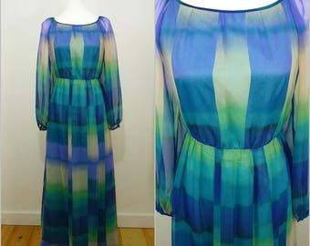 VINTAGE 1970s Retro Green Blue Block Colour Graphic Maxi Party Dress UK 10 FR 38 / Balloon Sleeves / Abigail's Party / Beautiful Material