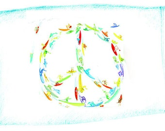 Peace Sign Surf Egyptian Cotton Standard Size Pillowcase by Surf and Mirth for Ditch Ink (SET OF 2)