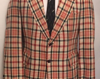 Vintage MENS 60's Escadrille for Hart Schaffner & Marx black, red, brown and white plaid tweed jacket, sport coat or blazer