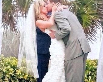 Fingertip veil two tier wedding veil two tier veil 2 layer veil