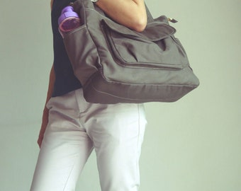 Sale Sale SALE - Lianny - Grey,  Diaper bag, Messenger Bag, Handbag, Women, Canvas Messenger Bag, Gift for Her, Baby, 30% OFF