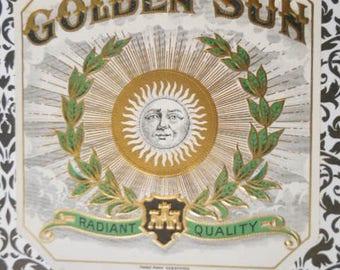 Antique Golden Sun Outer Cigar Box Label Engraving Print Ephemera