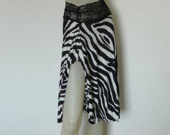 Zebra Print Skirt with Slit Argentine Tango & Salsa Skirt  US 4 and 6 Milonga Dance Wear Animal Designer Print Tango Jupe adorable Robe