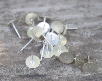 2 pairs Sterling Silver Earring Posts with 8mm Flat Pads