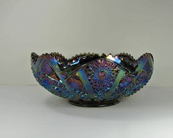 Vintage CARNIVAL GLASS Fruit BOWL Amethyst IRiDESCENT Imperial Bellaire Hobstar Arches